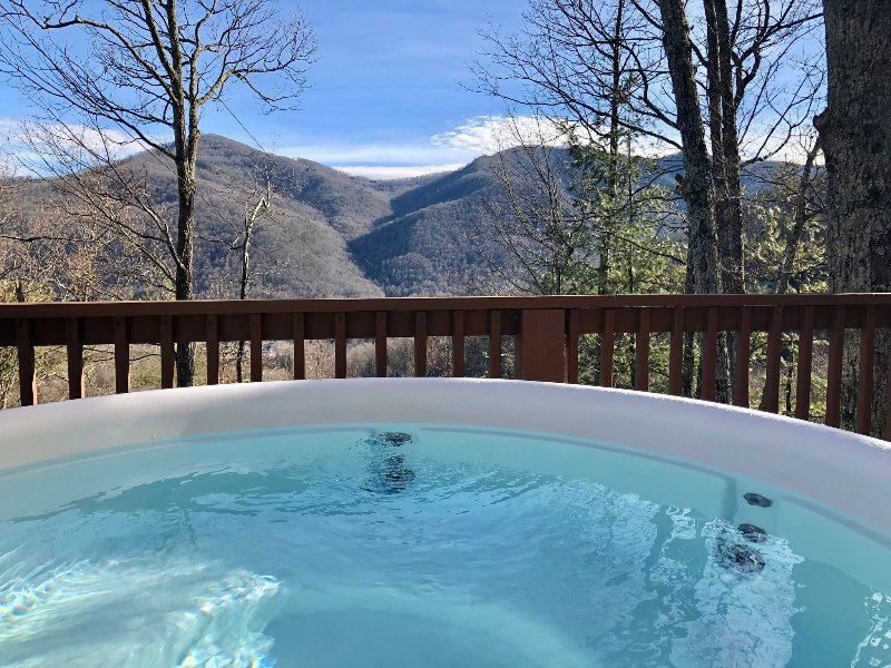 Stunning views from your very own hot tub. Private setting. Stars at night are amazing! Sunrises too
