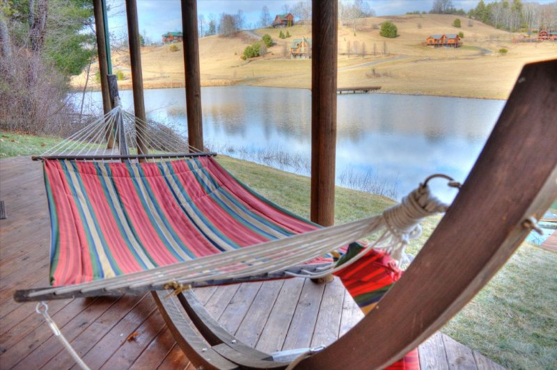 Relax by the pond on our hammock