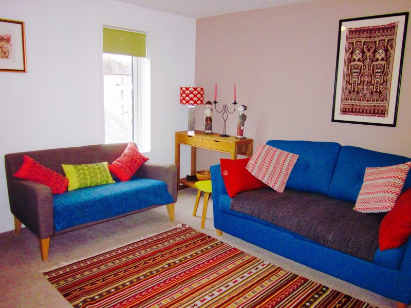 sofa converts to bed in living room