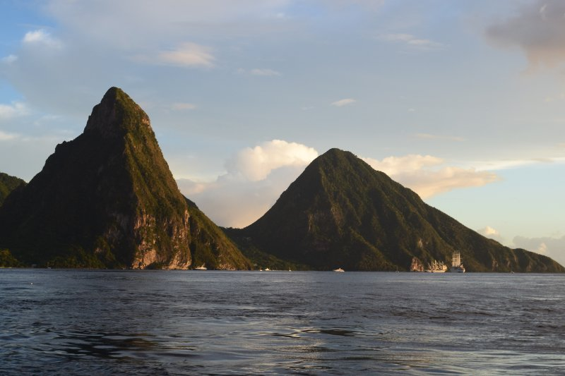 The Pitons from the Caribbean