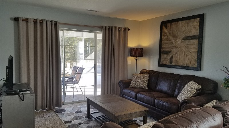 Luxury 2 BR Living Room has a Sofa Sleeper, Free WiFi and Cable TV. Large Screen In Patio with Grill