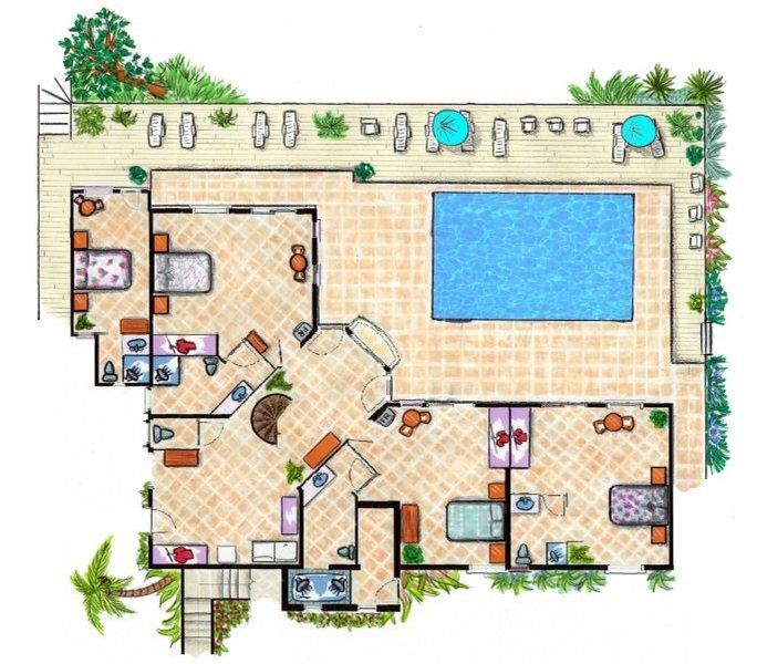 Floor plan of ground floor. 4 bedrooms w/ en suite baths, extra half bath, laundry room & pool deck