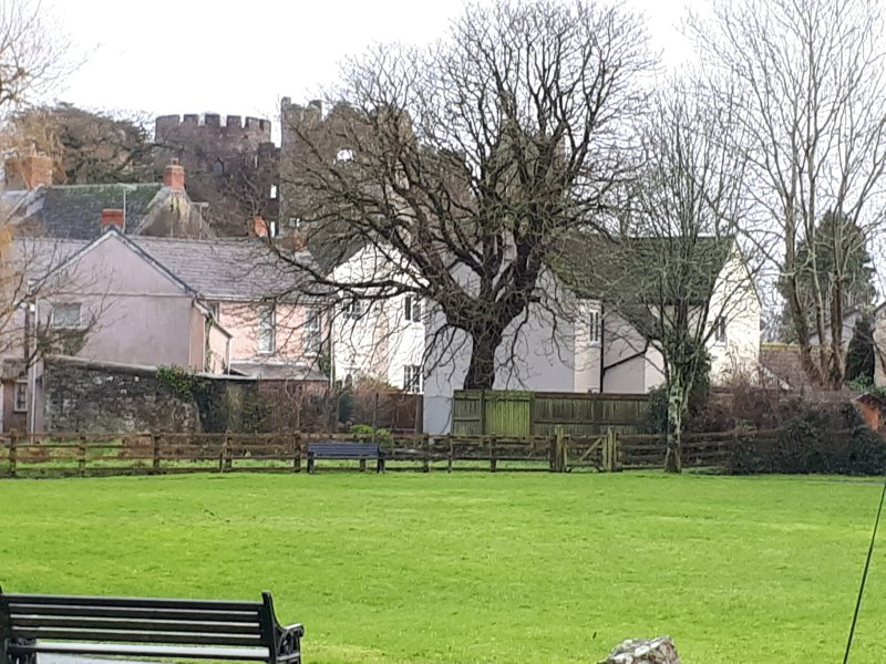 View of Little Avalon across the park with Laugharne castle in the  background.