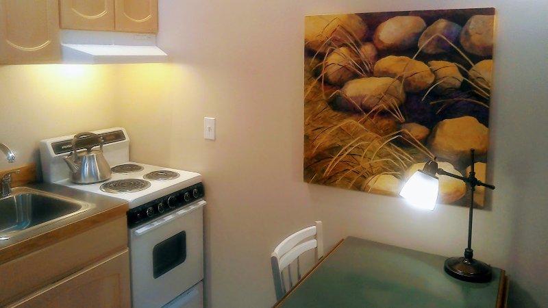nice artwork kitchen area