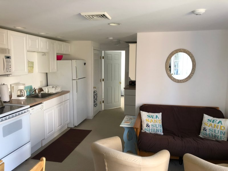 Kitchen/living room area. Has full size Fridge, oven, microwave and apartment size dishwasher.....