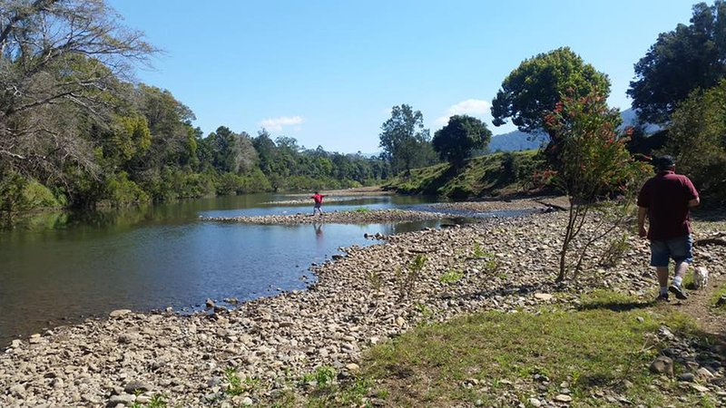 Stroll to the swimming spot for a dip in the Oxley River