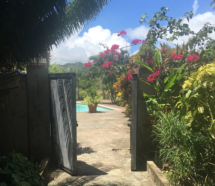gate to villa and pool