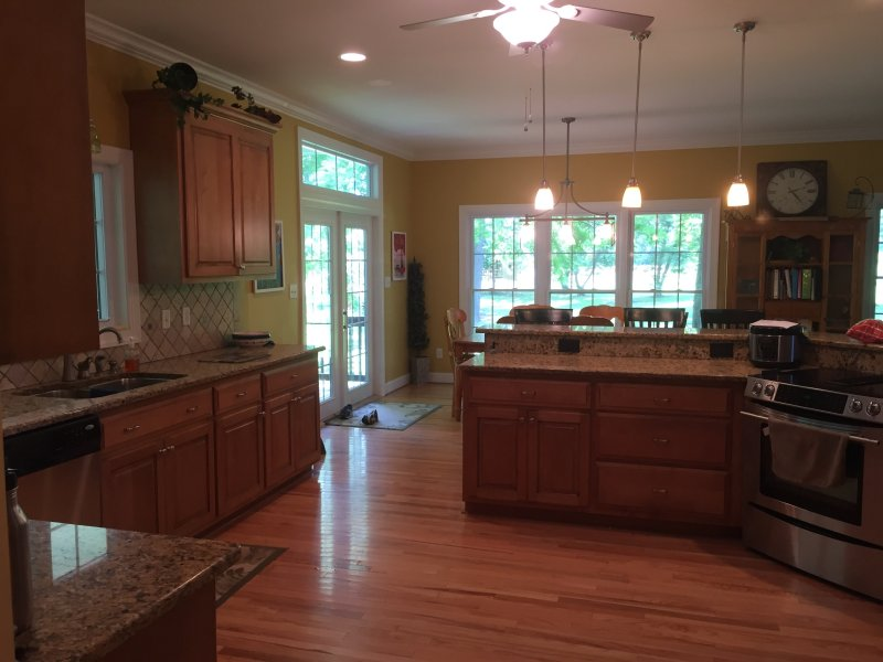 spacious kitchen where cook never feels left out of the action