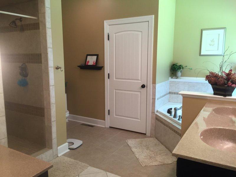 baño principal con doble grande ducha y bañera de hidromasaje