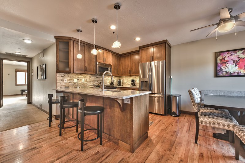 Kitchen and Dining Area with Hardwood Floors