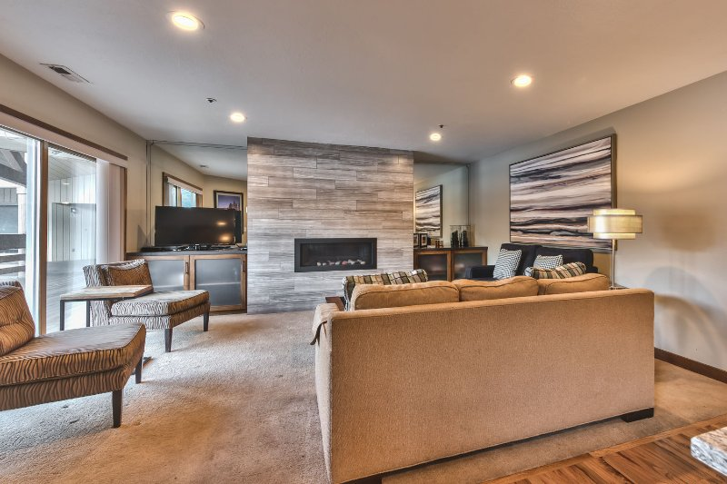 Living Room with 42' LCD TV, DVD, Stereo, Gas Fireplace, and Private Deck