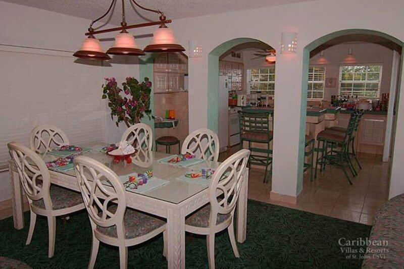 O interior da sala de jantar