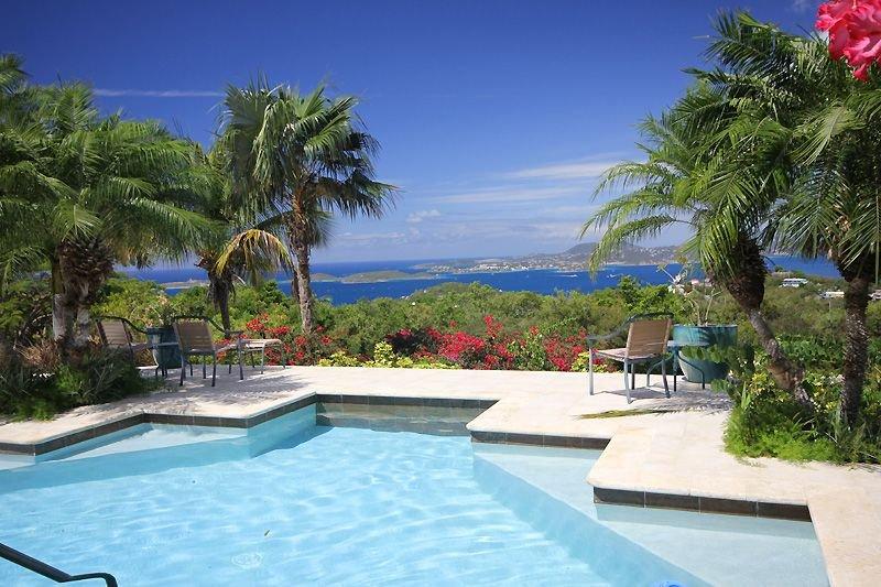 La vue de la piscine est à Saint-Thomas et beaucoup d'autres îles Vierges