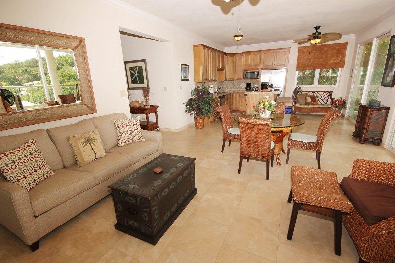 La gran sala del apartamento inferior, con el gran pasillo se muestra a la izquierda en el centro de la foto