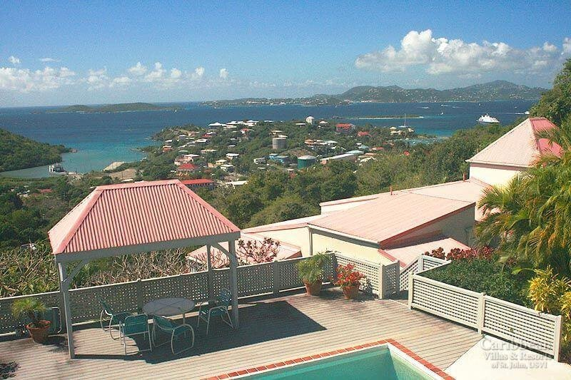Your view from the condo overlooks the pool as well as Cruz Bay