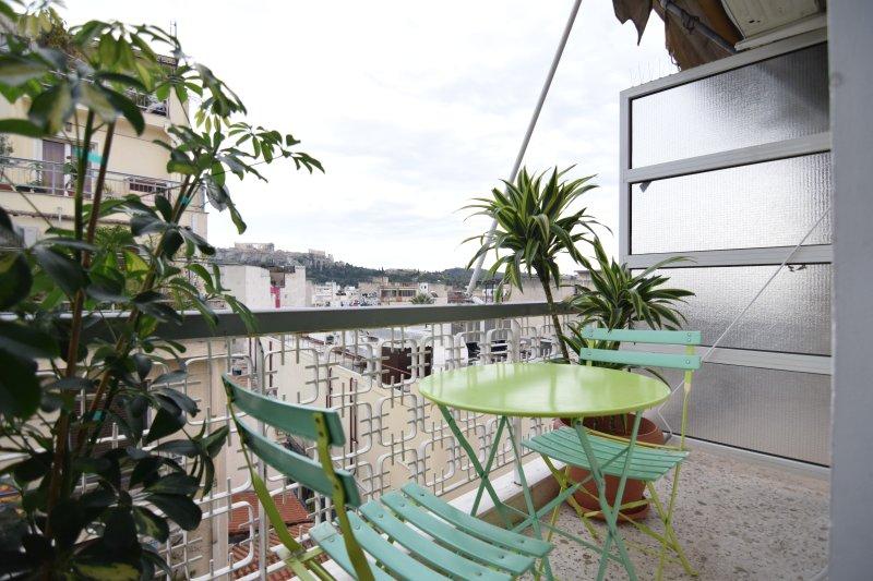 Balcón con vista directa de la Acrópolis
