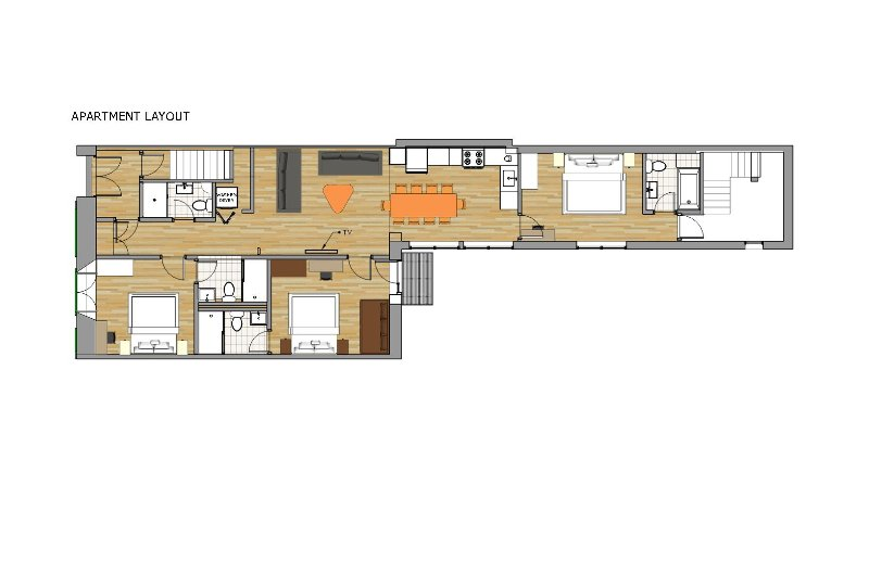 Plan que incluye la posición de las habitaciones, los baños.