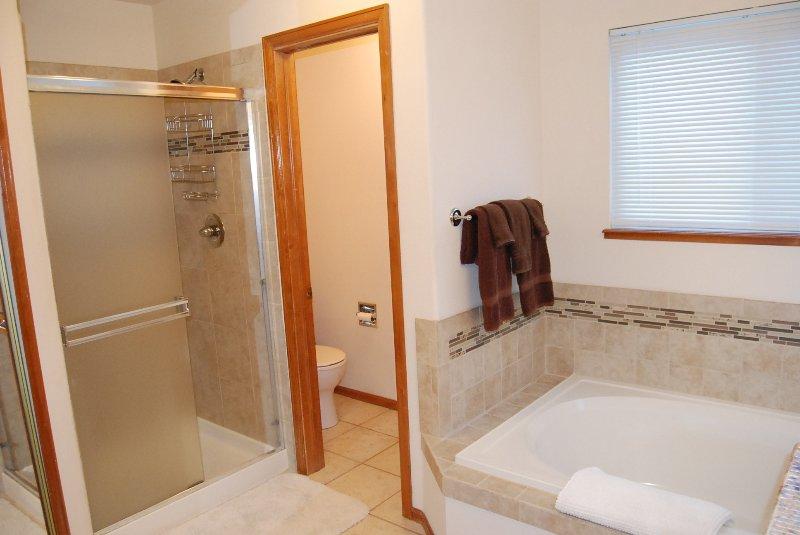 ducha de azulejos en el baño principal