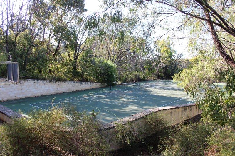 Tennis court looking north west