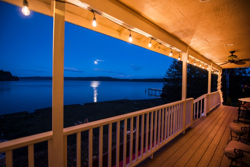 Enjoy 180-degree views from our wrap-around porch as you watch orcas play and moons rise.