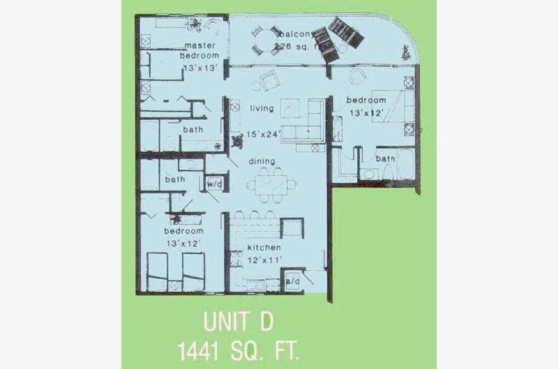 Exemple de plan d'étage Voir nos photos et descriptions pour les meubles et le placement réels. Ceci est l'un des meilleurs plans sur la plage avec deux suites de maître en bord de mer!