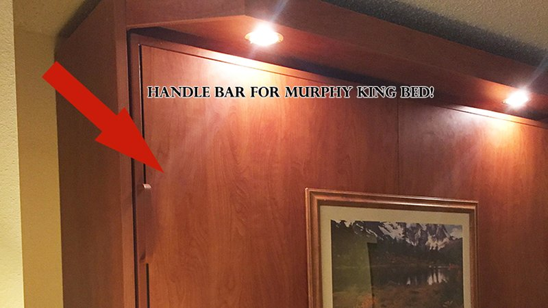 murphy bed is king - handle bar to pull down