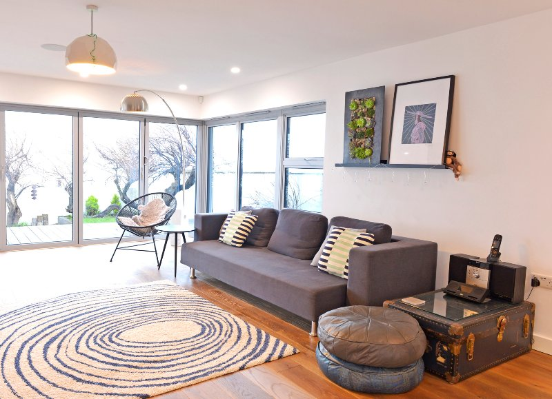 Ground floor living space - open and airy with sea views