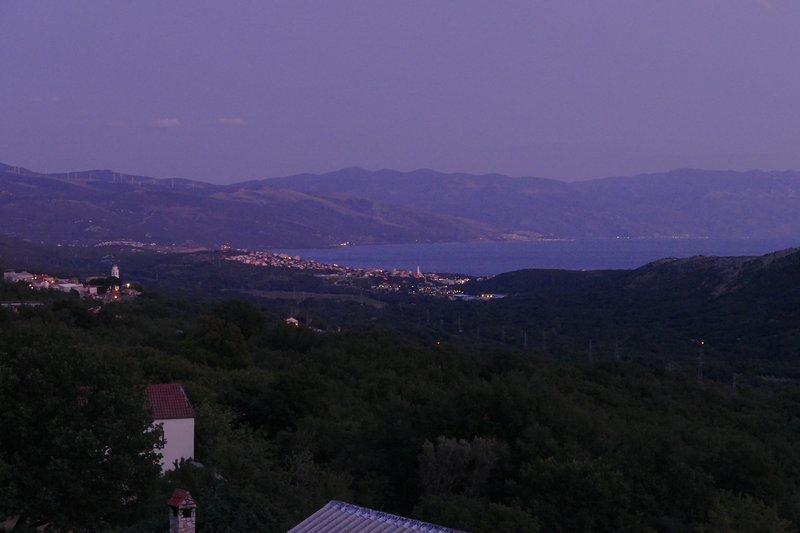 Looking towards the southeast at dusk: Novi Vinodolski & Velebit, Adriatic Sea