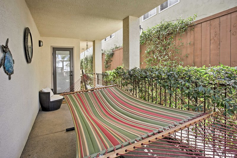 Kick back on the hammock after a long day exploring Pacific Beach.