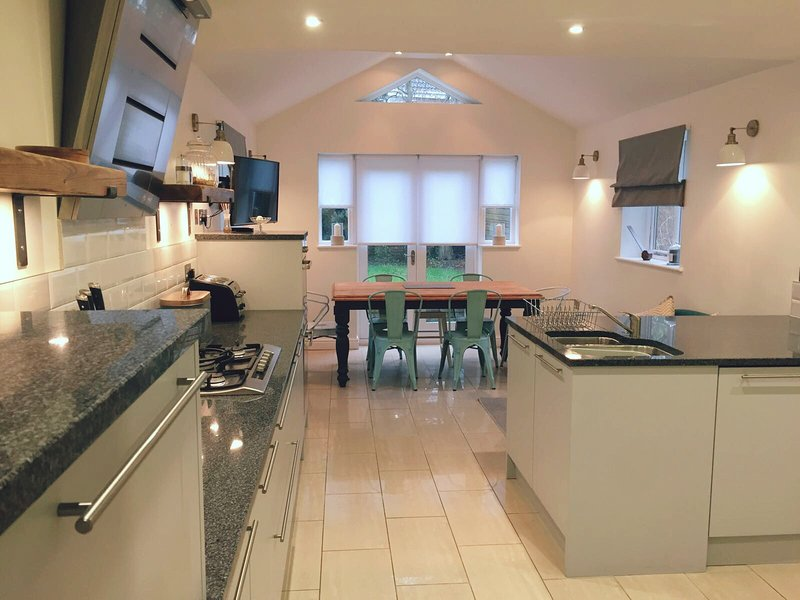 Modern family kitchen and dining room.