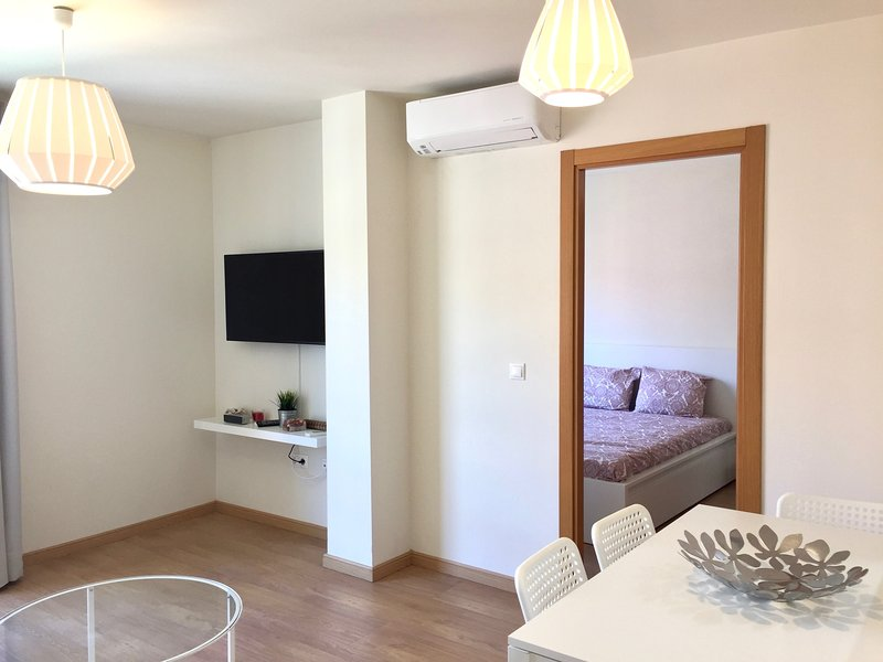 living room with flat tv and air conditioning