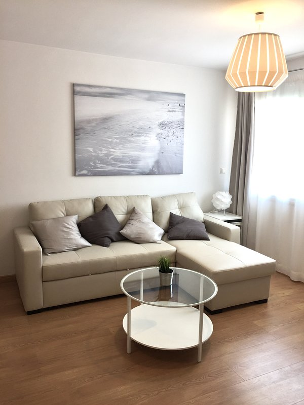 living room with sofa bed. Very bright