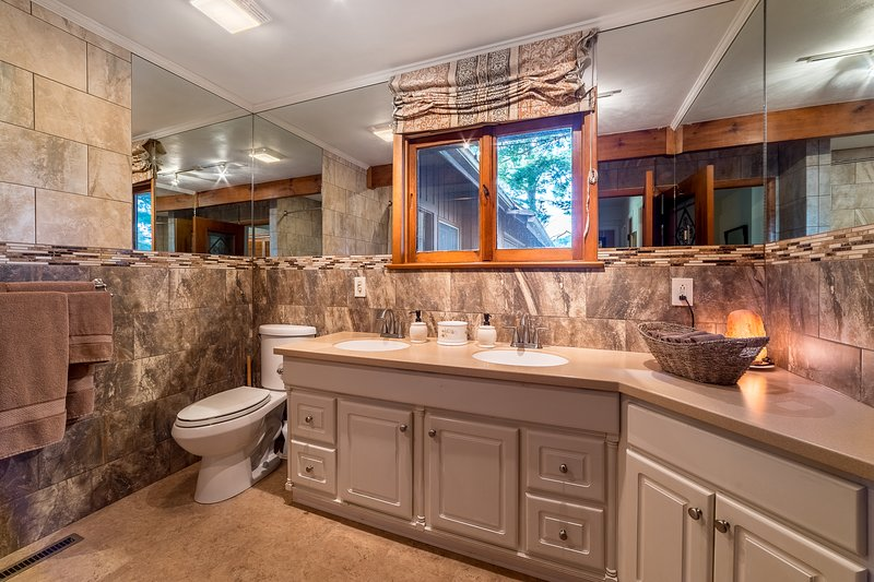 beautiful bathroom, large tub, with shower