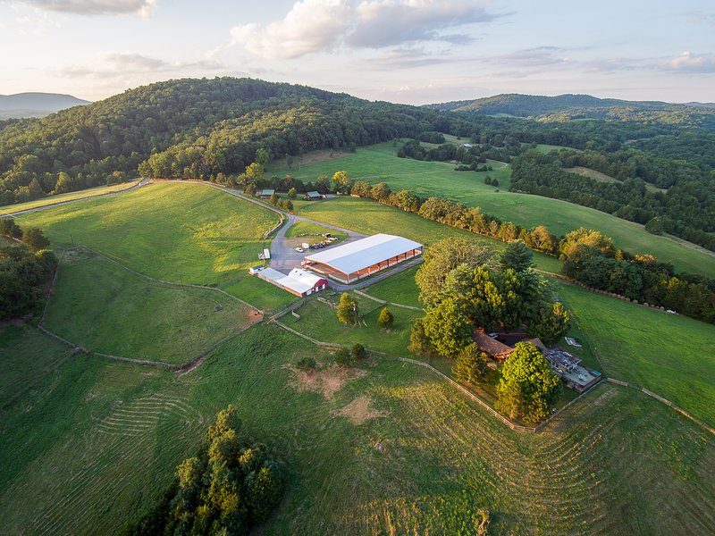 Lazy Acres Farm from the air. 47 acres. 5 mins to town. 2 miles to the Virginia Horse CTR