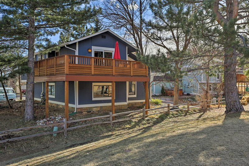 This spacious home is nestled in the foothills of the Rocky Mountains.