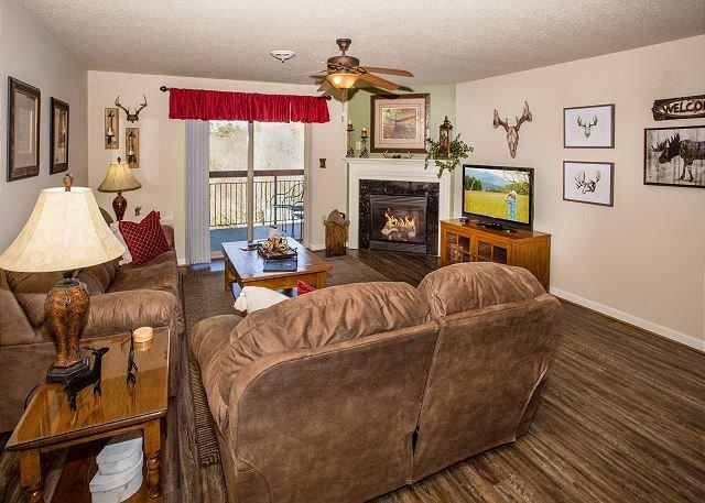 Sala de estar con chimenea de temporada