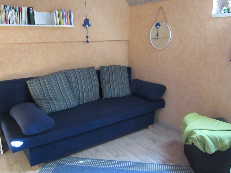 1 dormitorio con literas y un sofá cama