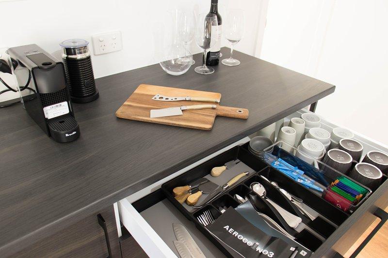 Nespresso machine plus a range of tea options