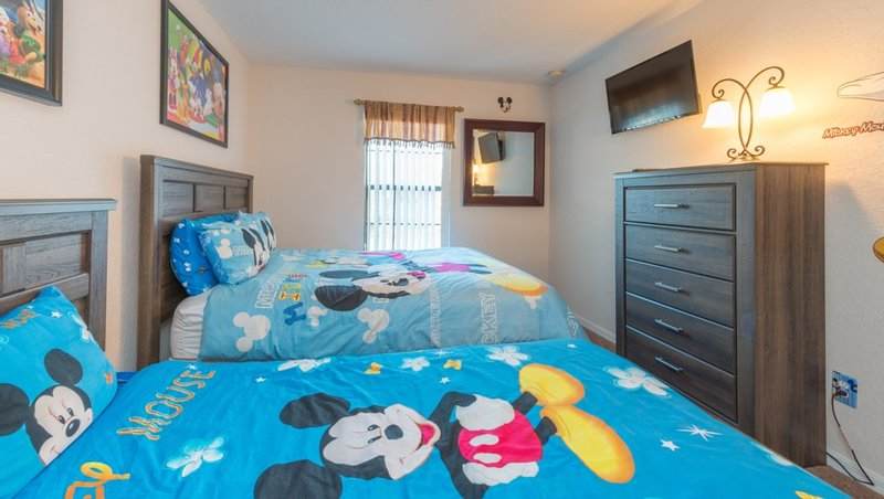 BEDROOM # 4   MICKEY MOUSE ROOM with 32 inch TV on the wall (Queen Bed & Twin Bed)