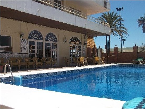 The outside swimming pool