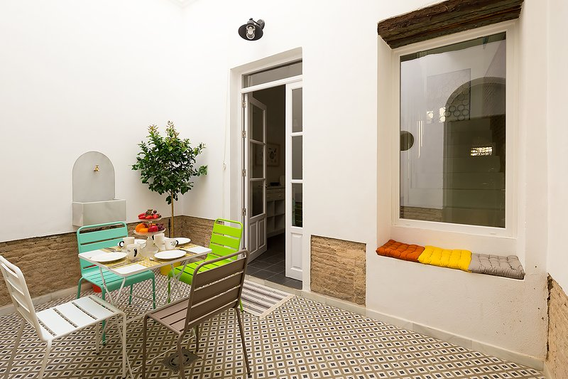 Private patio of the apartment.