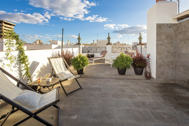 Rodrigo Triana 3. Duplex with 2 bedrooms, 2 bathrooms, patio, shared terrace, holiday rental in Olivares