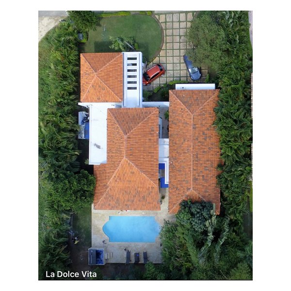Aerial view of the Dolce Vita with patios and private pool.