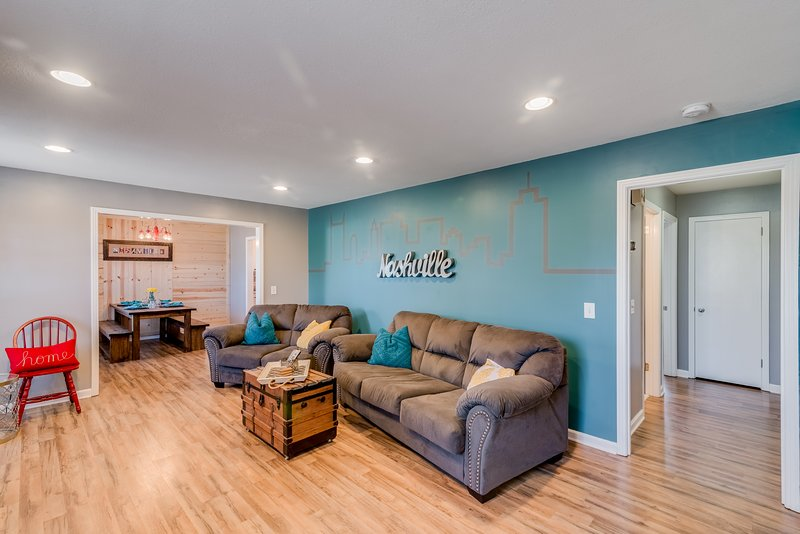 Spacious living room with plenty of Nashville flare!
