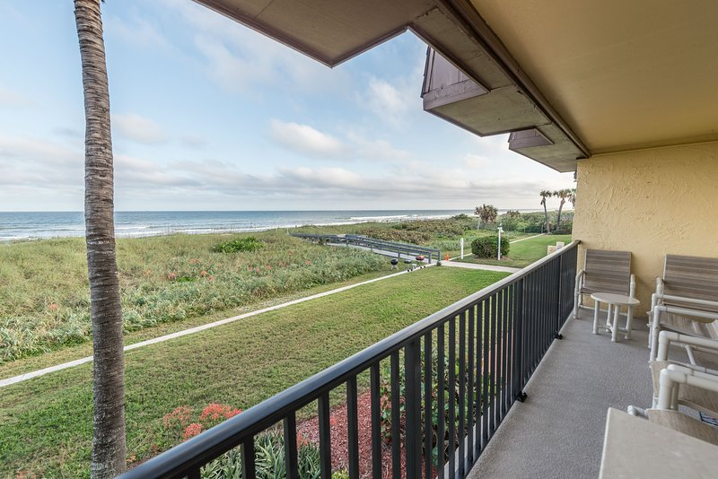 Enjoy the unobstructed view of the ocean from the spacious balcony