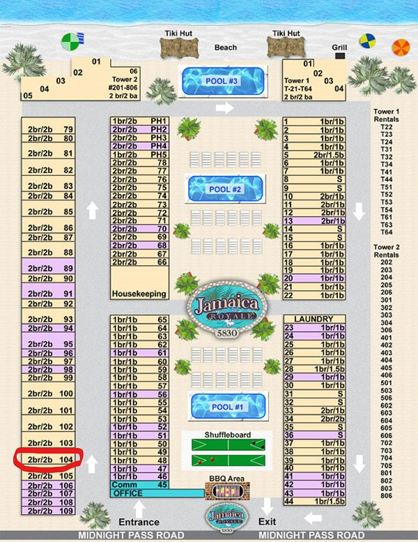 Map and layout. Unit 104 is on the left side circled in red!