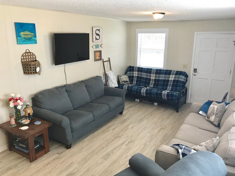 First floor living area. Queen size pull out couch and a full size futon.