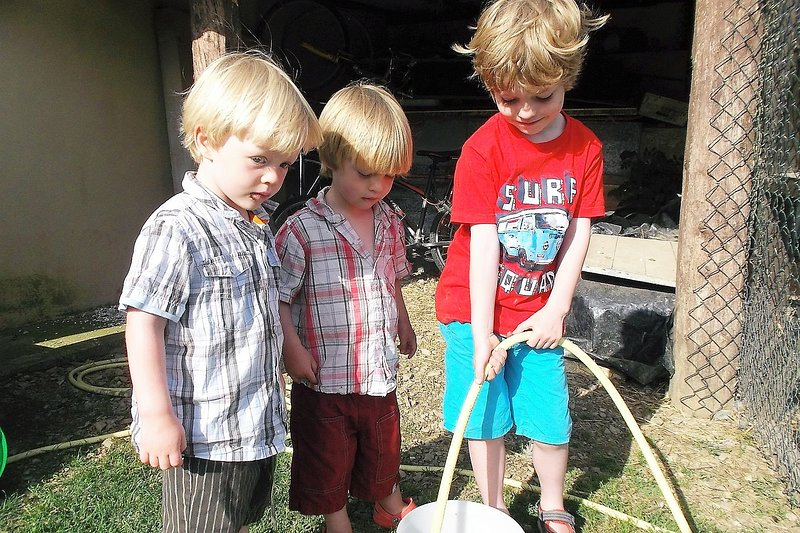 Children love to help out with our animals