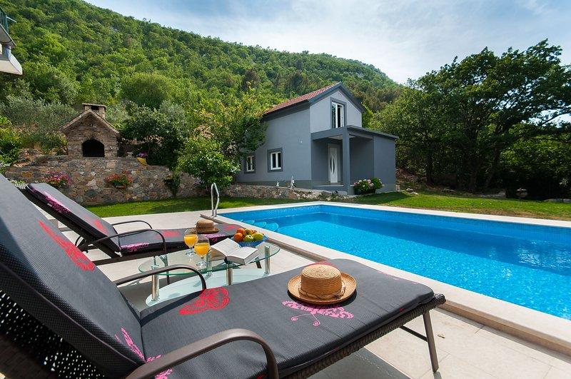 house, pool, garden, bbq
