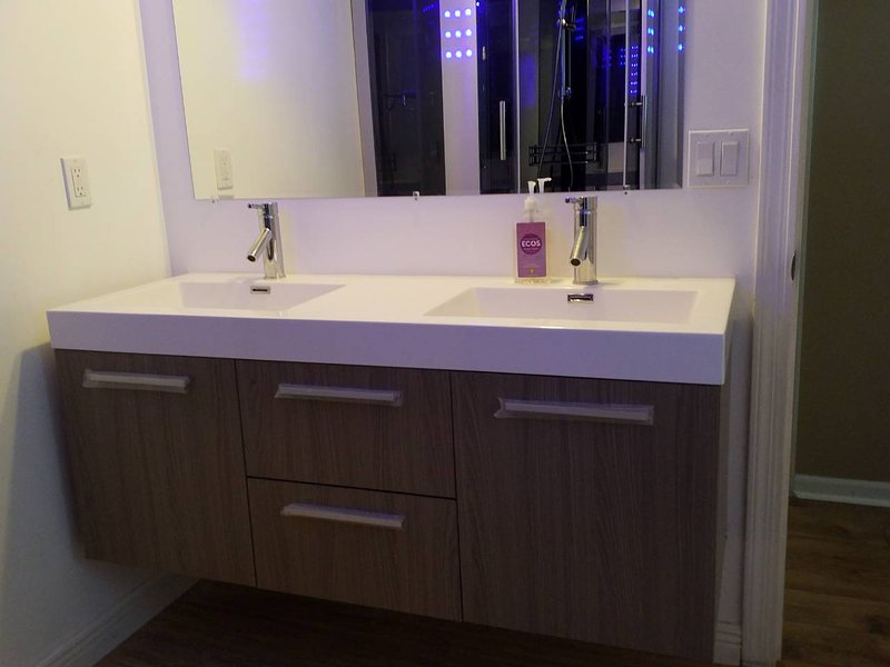 Full Bathroom with Modern Double Vanity and Luxury Spa Shower